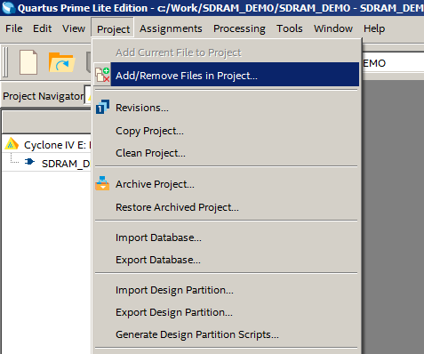 Add/Remove Files in Project...