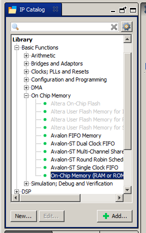 Basic Functions->On Chip Memory->On-Chip Memory (RAM or ROM)