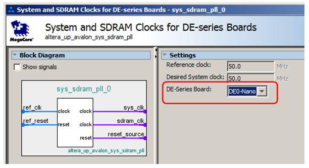 System and SDRAM Clocks for DE-series Boards