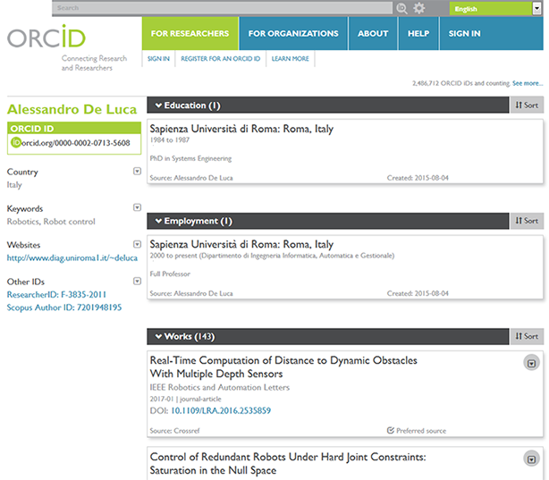 Orcid website